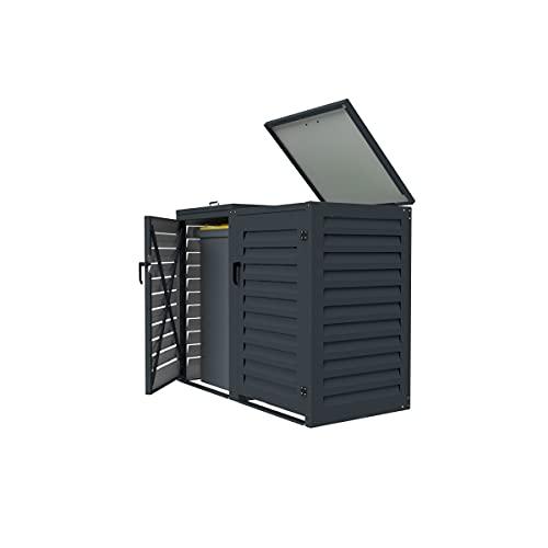 Abri poubelle extérieur Double 120L   Modulable en aluminium pour Jardin et Patio   Dimensions : H. 1150 x L. 1310 x P. 625 mm