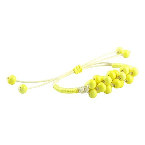 Vi.yo Armbänder für Damen Keramik Handgewebte Perlen Armreif Arm Manschette Armbinde Armband Gelb