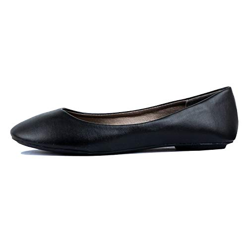 West Blvd Womens Ballet Flats Slip On Shoes Ballerina Slippers  Black Pu  US 10