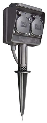 McPower - Gartensteckdose | Schutzklasse IP44, mit Erdpieß, 3m Kabel (2-fach)