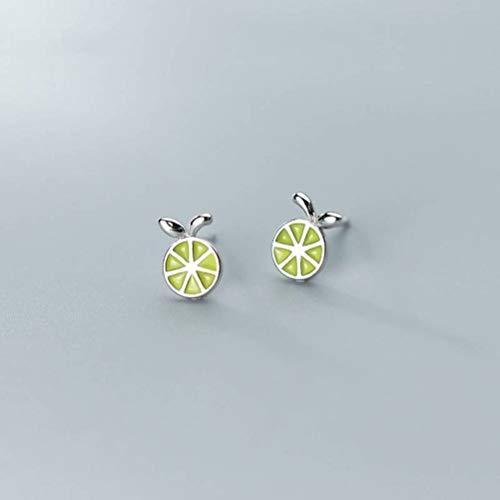 WOZUIMEI Pendientes de Plata S925 Pendientes de Fruta de Personalidad de Limón de Verano Lindo Estilo Coreano Femeninoplata