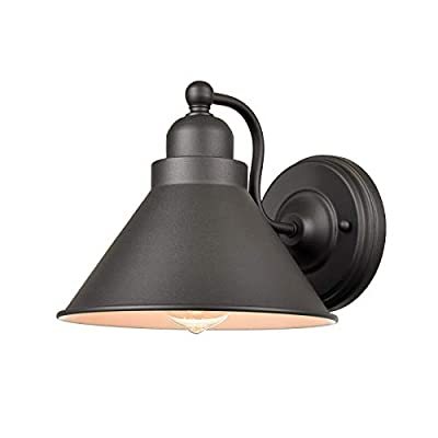 Industrial Matte Black Simplicity 1 Light Metal Wall Sconce Porch Kitchen Hallway Wall Light Fixture