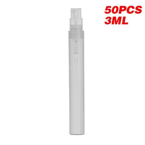 50 stks Spray Lege Kleine Reisflessen Navulbare Parfum Lege Sample Fles Spuitbus Parfum Verstuiver Fles Geuren Verstuiver Pomp 1.2x1.2x6.5cm Kleur: wit