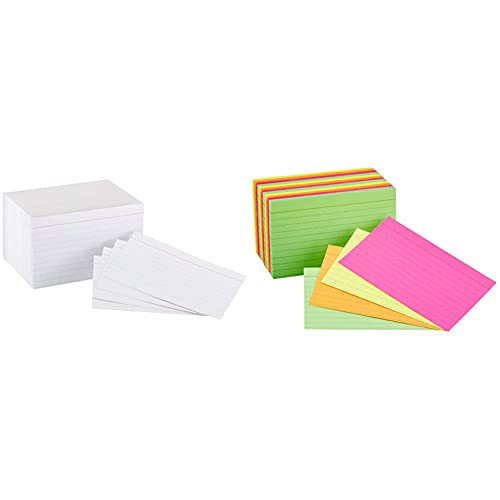 Amazon Basics Heavy Weight Ruled Lined Index Cards, White, 3x5 Inch Card, 300-Count & Ruled Index Flash Cards, Assorted Neon Colored, 3x5 Inch, 300-Count