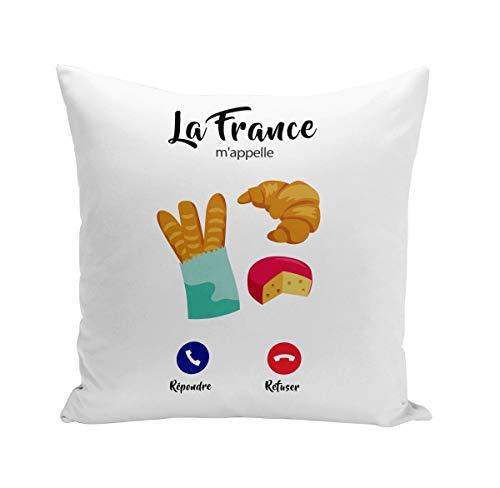 Fabulous Coussin 40x40 cm La France m'appelle Gastronomie Baguette Croissant