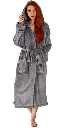 Verabella Mens Robe Soft Hooded Bath Robe,Steel Grey,L-XL Men/XL-2XL Women