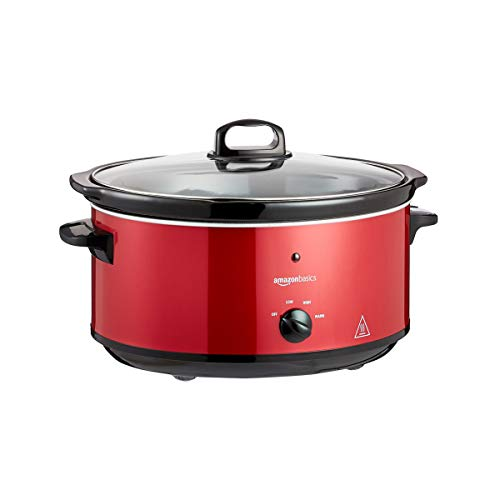 Amazon Basics Slow Cooker with 3 Heat Settings and Keep-Warm Function, 235-280 W, 6.5L