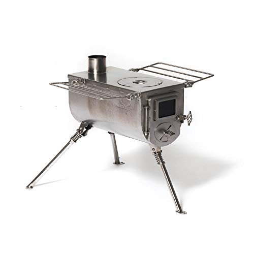 WINNERWELL Woodlander Medium Tent Stove   Tiny Portable Wood Burning Stove for Tents, Shelters, and Camping   800 Cubic Inch Firebox   Precision Stainless Steel Construction   Includes Chimney Pipe