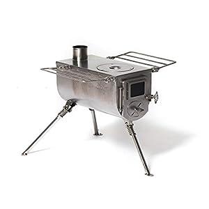 Estufa de carpa grande Winnerwell Woodlander | Estufa de leña portátil para tiendas de campaña, refugios y campamentos | Caja de fuego de 1500 pulgadas cúbicas