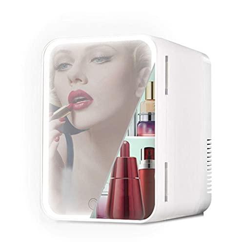 GJHK Mini refrigerador de Belleza, 8L Maquillaje Skincare Fridge Mirror Cosmetics Refrigerador con luz LED Cooler eléctrico portátil Fresco y Calor para el Dormitorio de la Oficina del Dormitorio