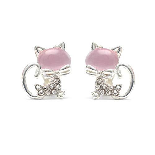 Rosa simulato occhio di gatto con cristallo gattino clip su orecchini