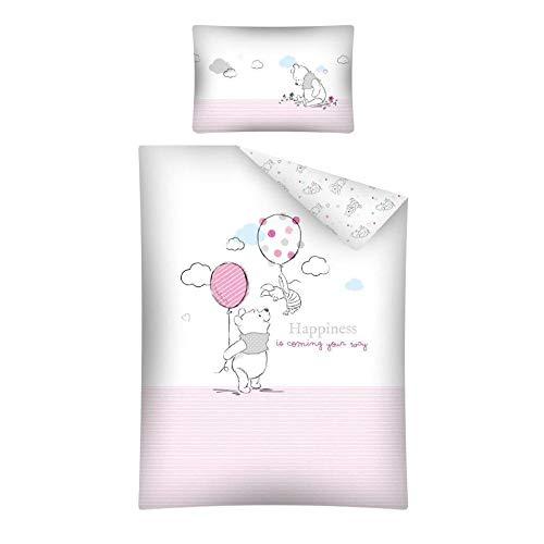 Arle-Living 3 TLG. Baby Bettwäsche Set mit Wende Motiv: Winnie Pooh - 100x135 cm + 40x60 cm + 1 Spannbettlaken 70x140 cm (rosa)