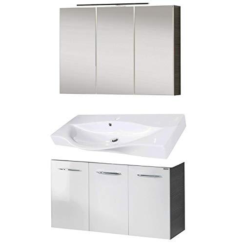 Fackelmann badkamermeubelset Vadea 3-delig 90 cm antraciet wit met wastafelonderkast, gietijzeren wasbak en LED-spiegelkast antraciet