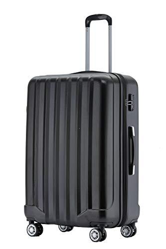 BEIBYE TSA-Schloß 2080 Hangepäck Zwillingsrollen neu Reisekoffer Koffer Trolley Hartschale Set-XL-L-M(Boardcase) (Schwarz, XL)