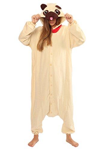 Unisex Pug Dog Hund onesiee Kigurumi Pyjama Karneval Kostüm Maskenkostüm Kapuzenpulli Schlafanzüge L(Height 170cm-180cm)