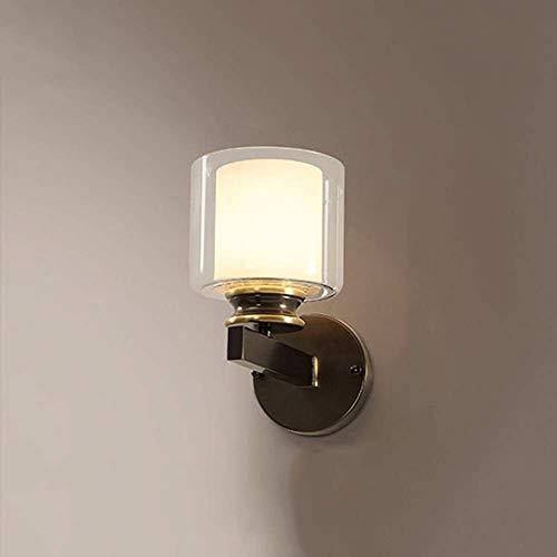 LKAIBIN Lámpara de pared LED de cobre negro de cristal para pasillo, pasillo, comedor, sala de estar, dormitorio, estudio, escaleras, balcón, luz amarilla cálida, moderna, simple, alto sabor