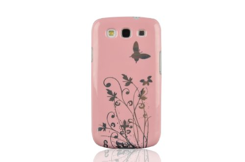 JAMMYLIZARD | Schmetterling und Blumen Back Cover Hülle für Samsung Galaxy S3 / S3 Neo, HELLROSA