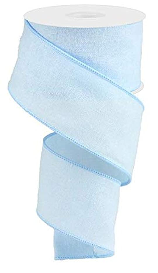 Fuzzy Cotton Wired Edge Ribbon, 10 Yards (Light Blue, 2.5