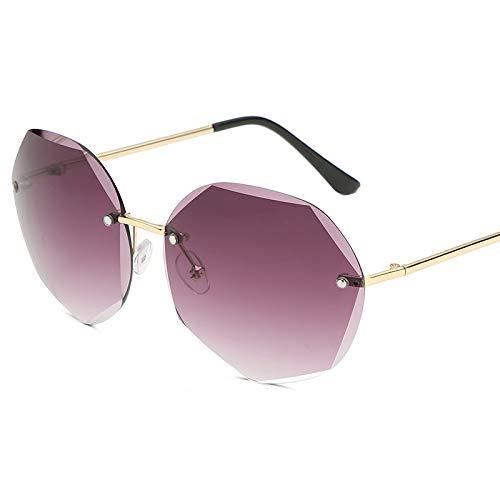 Ocean-Piece Sonnenbrille Diamant Ausgeschnitten dünne Sonnenbrille Frauen mitgerahmt Metallic-Brille 132 * 139mm Die Goldkiste ergraut.