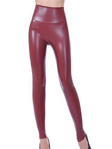 Gladiolus Mujeres PU Cuero Leggings Skinny Elásticos Treggings Pantalones Cintura Alta Leggins Pantalon Vino Rojo L