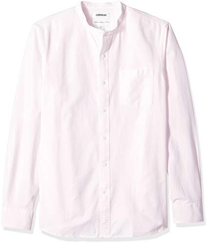 Goodthreads – Camisa Oxford de manga larga con cuello en banda de corte estándar para hombre, Rosa (Pink Pin), US S (EU S)