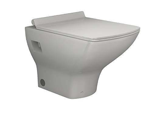 Aqua Bagno Design Hänge-Wc zur Wandmontage HAWC70-24 Toilette mit ultra flachen WC-Sitz WC-Set aus Keramik