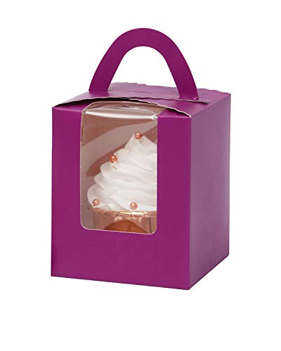Yotruth Purple Cupcake Boxes 25 Sets with Window Insert and Handle (Classic Series)