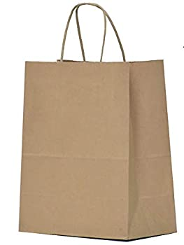 Kraft Paper Gift Bags with Handles - 8x4.25x10.5 25 Pcs Brown Shopping Bags Party Bags Goody Bags Cub Favor Bags Business Bags Kraft Bags Retail Bags