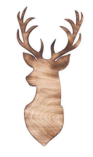 Dekohirsch geflammt Wanddeko 3D-Deko Hirsch natur Holz Dekoartikel 54 x 26,5 cm Pohmer Design