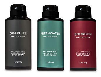 Bath and Body Works 3 Pack Deodorizing Body Spray. Graphite, Freshwater and Bourbon. 8 Oz.