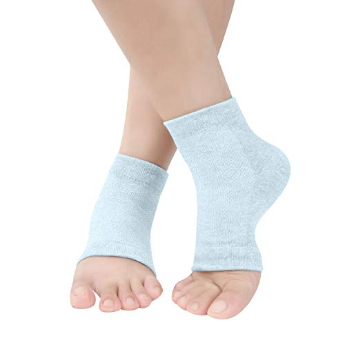 Vented Moisturizing Gel Heel Socks, Toeless Spa Sock for Foot Care Treatment, Cracked Heels, Dry Feet, Foot Calluses Green