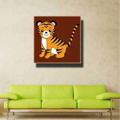 Cartoon Dieren afdrukken schilderij op canvas kunst moderne tijger vogel leeuw olifant aap giraffe kinderkamer decoratie 40x40cm
