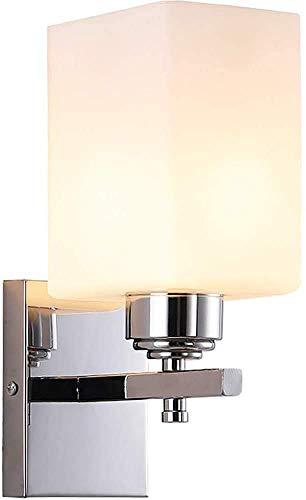 BBZZ Lámpara de pared moderna simple para interiores con pantalla de cristal cuadrado de pared con acabado cromado mate E27 lámpara de pared para dormitorio, sala de estar, pasillo, cocina