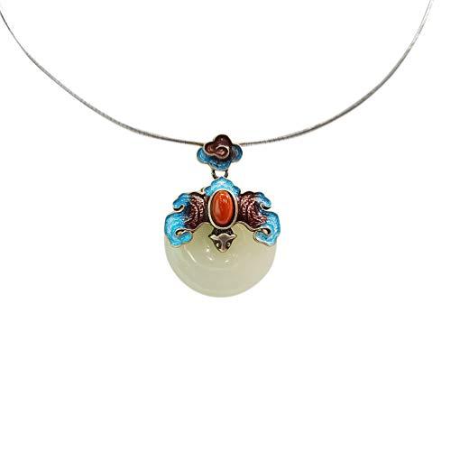 Anhänger Halskette 925 Silber Damen mit Jade - Chinesischer Vintage Schmuck 100% Handarbeit aus Hotan mit Echtheitszertifikat 105-LT101V1-40cm