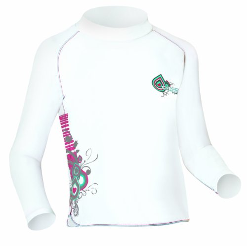 Camaro Curls - Camiseta de lycra de manga larga para niña, Blanco, L (152 cm)