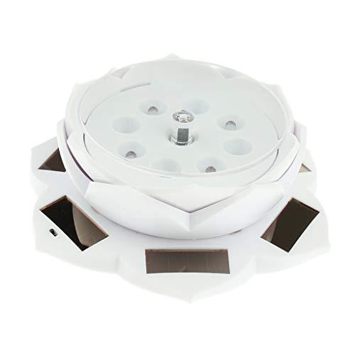 Harilla Schmuck Rotierender Ständer LED Licht ändernder Display Basisständer Lotusform - Weiß, wie beschrieben