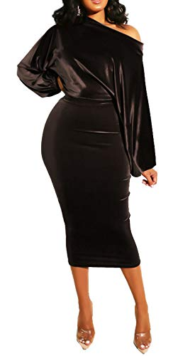 PerZeal Bodycon Midi Dress for Women Long Sleeve Golden Velvet Off The Shoulder Slim Fit Pencil Dress