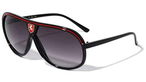 Khan Turbo Sport Classic Aviator Sunglasses (Black & Red Frame, Black Gradient)