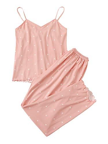 DIDK Damen Pyjama Sets Vielfarbig Spaghettiträger Shirt Hosensets Schlafanzüge mit Wellensaum Cami PJ Set Träger Oberteil Sleepwear Polka Dots-Pink XS