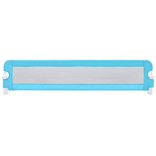 VidaXL Barrière de lit pour enfant en polyester Bleu 180 x 42 cm