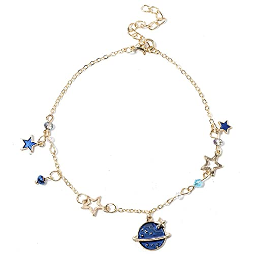 Dreamy Planet Star Shape Pulsera versátil Adorno de mano para niña Catenaria de mano Pulsera de cadena de moda - Azul