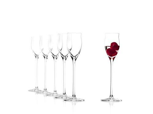Stölzle Lausitz Edelbrandgläser/Schnapsgläser, 65ml, 6er Set, spülmaschinenfest: Extravagantes Obstler-Glas mit langem Stiel und edlen Konturen