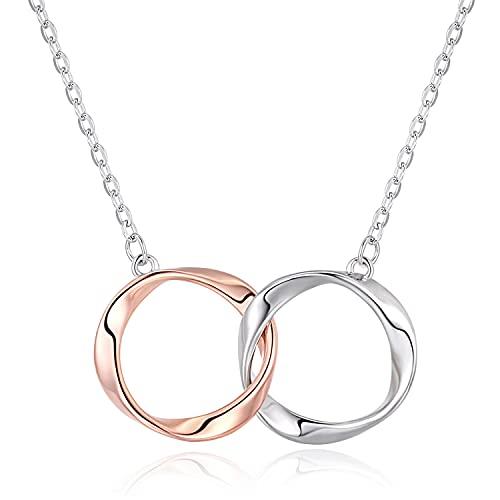 Collares de plata de ley 925 para mujeres y niñas, joyería de plata de ley para el día de la madre, regalo de cumpleaños para mamá novia dorado