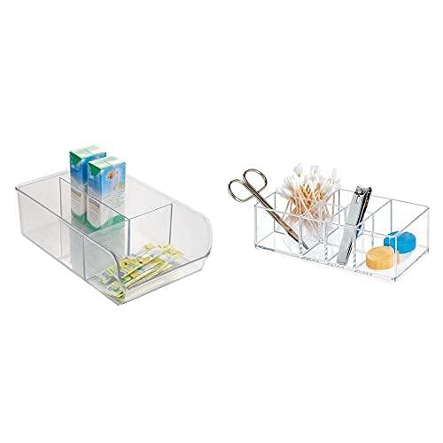 iDesign Caja Transparente Con 3 Compartimentos, Organizador De Cocina Mediano De Plástico + Caja Botiquín Para El Baño O El Armario, Pequeña Caja Para Medicinas De Plástico Con 7 Compartimentos