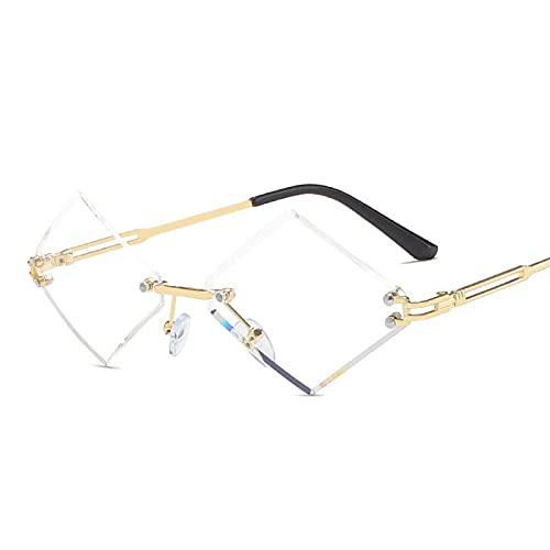 AMFG Gafas De Sol De Metal En Forma De Diamante Mujeres Y Hombres Sin Marco Tendencia Océano Gafas De Sol Gafas De Sol De Ajuste De Moda (Color : G)