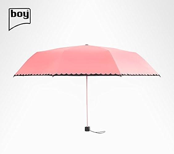 YFF@ILU Ultra-légers de cadeau d'amoureux de parapluies parapluie Parapluie femme UV crème solaire sunny pli en caoutchouc noir petit parapluie noir C