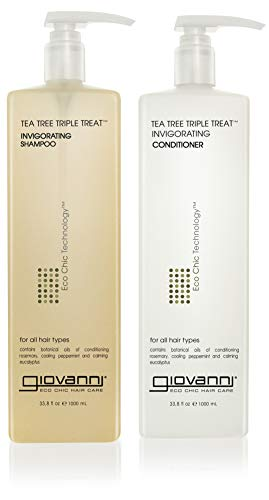 GIOVANNI Tea Tree Triple Treat Invigorating Shampoo & Conditioner, 33.8 Oz