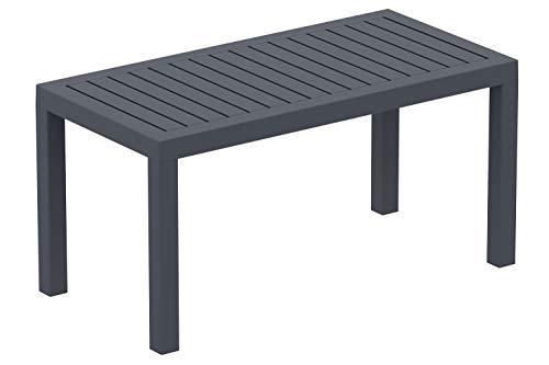 CLP Lounge Tisch Ocean I Wetterfester Gartentisch aus UV-beständigem Kunststoff I wetterfest und UV-beständig I robuster Gartentisch, Farbe:dunkelgrau