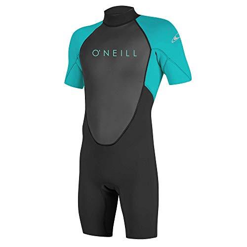 O'Neill Wetsuits Mädchen Reactor II 2mm Back Zip Spring Wetsuit Neoprenanzug, Black/Light Aqua, 12