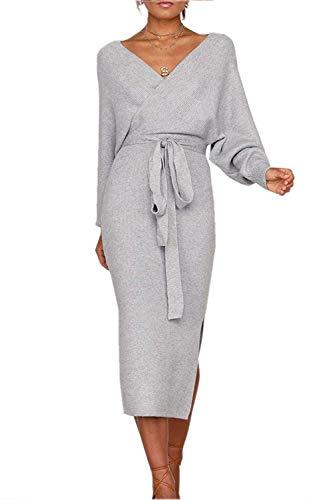 Pulloverkleid Damen Kleider Elegant Strickkleid V-Ausschnitt Langarm Tunika Kleid Minikleid Mit Gürtel (XCL-3, M)